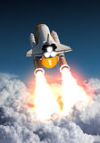 Space Shuttle Takes Off Above The Clouds. 3D Illustration stock illustration
