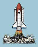 Space shuttle takes off. astronomical astronaut exploration. engraved hand drawn in old sketch, vintage style for label. Startup business or T-shirt. flying Stock Images