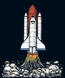 Space shuttle takes off. astronomical astronaut exploration. engraved hand drawn in old sketch, vintage style for label. Startup business or T-shirt. flying stock illustration