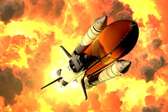 Space Shuttle Takes Off In The Clouds Of Fire Royalty Free Stock Photos