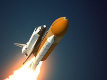 Space Shuttle Takes Off. 3D Scene Royalty Free Stock Photography