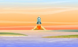 The space shuttle takes off over the bay. Space rocket launch. Space travel. stock illustration
