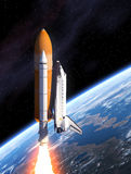 Space Shuttle Takes Off. Space Shuttle And Planet Earth. 3D Scene vector illustration