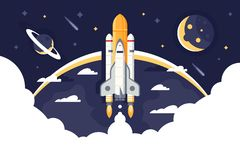 Space shuttle takes off, rocket from earth into space and flights among stars. Concept aircraft for science, expeditions and tourism. Vector illustration stock illustration