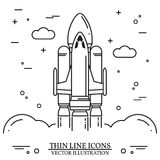 Space shuttle takes off on the white background. Human mission to Mars. For web design and application interface, also useful for infographics. Space shuttle royalty free illustration