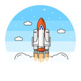 Space shuttle takes off on the white background. Human mission to Mars. For web design and application interface, also useful for infographics. Space shuttle vector illustration