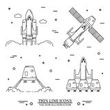 Space shuttle takes off on the white background. Human mission to Mars. For web design and application interface, also useful for infographics. Space shuttle stock illustration