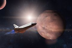 Space shuttle taking off on a mission on background of Mars. Planet. Elements of this image furnished by NASA Royalty Free Stock Photos