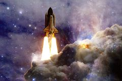 Space shuttle taking off on a mission. Deep space. Beauty of endless universe. Elements of this image furnished by NASA royalty free illustration
