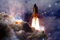 Space shuttle taking off on a mission. Deep space. Beauty of endless universe. Elements of this image furnished by NASA royalty free stock images