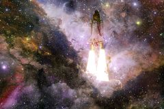 Space shuttle taking off on a mission. Deep space. Beauty of endless universe. Elements of this image furnished by NASA vector illustration