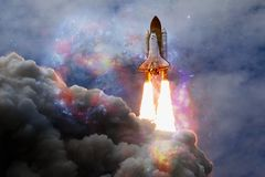 Space shuttle taking off on a mission royalty free illustration