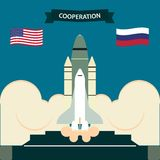 Space shuttle. Two States, in collaboration launch the space shuttle into space stock illustration