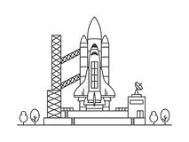 Space shuttle vector illustration. Rocketship launch line art concept. Space rocket graphic design Royalty Free Stock Photos