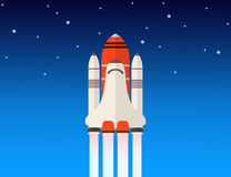 Space shuttle. A vector image of a space shuttle launched into space Stock Illustration