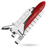 Space shuttle on white. Black and white space shuttle with red tank on white. Nice american flighting spaceship - flatten illustration master vector vector illustration