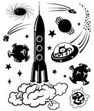 Space silhouettes. Cute space silhouettes,  illustration Royalty Free Stock Photo