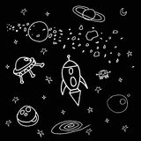 Space sketch. Different space sketch illustrations on a black background royalty free illustration