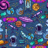 Space sketch seamless pattern Royalty Free Stock Photo