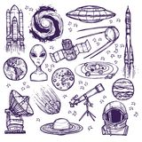 Space sketch set Stock Photography