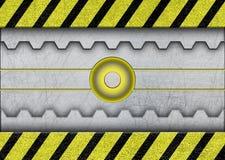 Space sliding doors with warning stripe metal background vector illustration