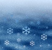 Space snowflakes. Abstraction blue background with snowflakes Stock Photo
