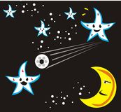 Space soccer. The stars playing soccer in the night, the moon cheer up in the play Royalty Free Stock Photography
