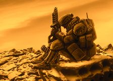Space soldier awaits evacuation with a spaceship. Orange background stock illustration