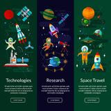 Space, spaceship, astronaut, planets, space station and ufo. Space universe vertical  banner set with flat  symbols of planets, rockets, satellites, space Stock Photo
