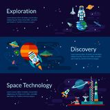 Space, spaceship, astronaut, planets and ufo. Space banners and flyers with an astronaut, space station, planets, spacecraft, satellites and ufo In flat style Stock Photos