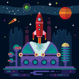 Space, spaceship, station and planets. Royalty Free Stock Photo