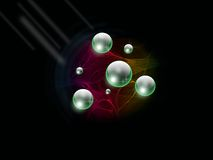 Space Spheres. Some green translucent balls in space Royalty Free Stock Photos