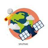 Space Sputnik Vector Image. Satellite space sputnik icon station 1 isolated background illustration vector technology design communication earth white network Stock Image