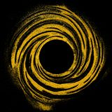 Circle made of glittering golden particles. Space star dust round shine spinning on black background, copy space royalty free illustration