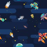 Space star pattern astronauts spaceships and flying aliens. Seamless patter on a space theme with aliens and planets Stock Image