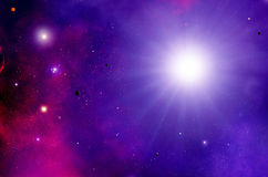 Purple Space and Stars Royalty Free Stock Images