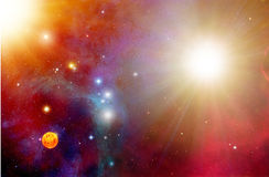 Space and Stars Background. Colorful space illustration composed of old and new stars in clouds of stardust royalty free illustration