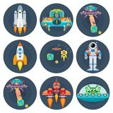 Space stars flat spaceships aliens and astronauts. Bright vector Royalty Free Stock Photo