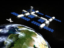 Space Station. And shuttle in orbit the earth royalty free illustration