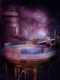 Space station. Purple landscape with a futuristic space station Royalty Free Stock Photography