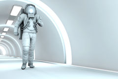 In the Space station. A Astronaut walking in a space station. 3D rendered illustration Stock Photo