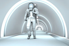 In the Space station. A Astronaut walking in a space station. 3D rendered illustration Stock Image