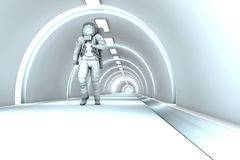 In the Space station. A Astronaut walking in a space station. 3D rendered illustration Stock Photography