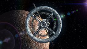 Mercury on the background. Flight through the gates of the sci-fi space station, green screen, 3d animation. Texture of