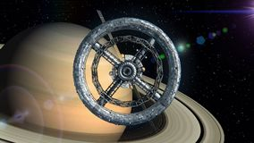 Saturn on the background. Flight through the gates of the sci-fi space station, green screen, 3d animation. Texture of