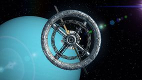 Space station on the background of Uranus. Uranus on the background. Flight through the gates of the sci-fi space station, green screen, 3d animation. Texture of stock footage