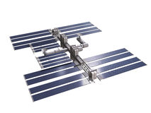 Space station 3d render with clipping path Royalty Free Stock Images