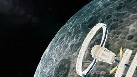 Space station flies around the moon. stock illustration