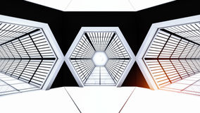 Space station hallway tunnels Royalty Free Stock Photos