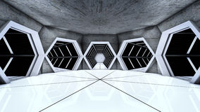 Space station hallway tunnels Royalty Free Stock Images